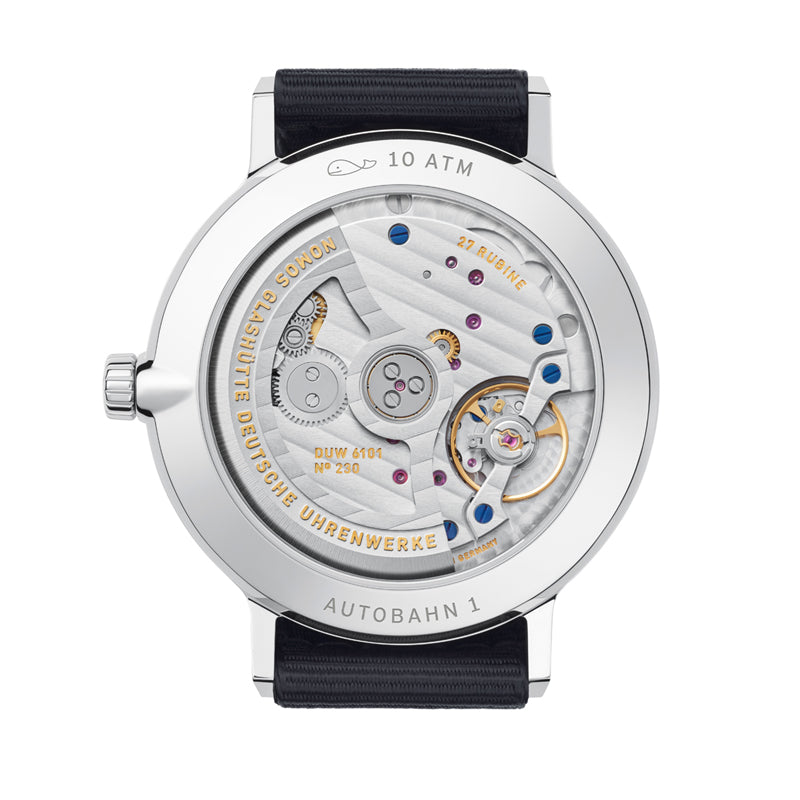 Nomos Autobahn Neomatik 41 Date Midnight Blue (back of watch) Ref. 1302