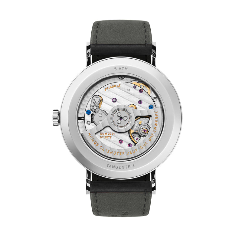 Back of Nomos Tangente Neomatik 39 Watch Ref. 140 with window to movement