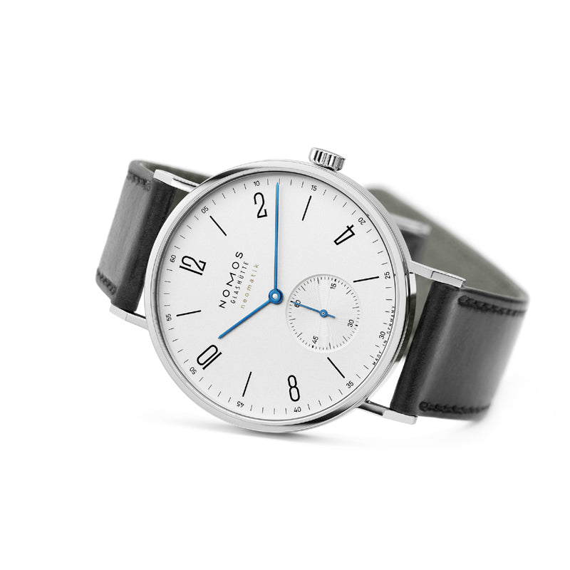 Nomos Tangente Neomatik 39 Watch Ref. 140 on side with blued steel watch hands