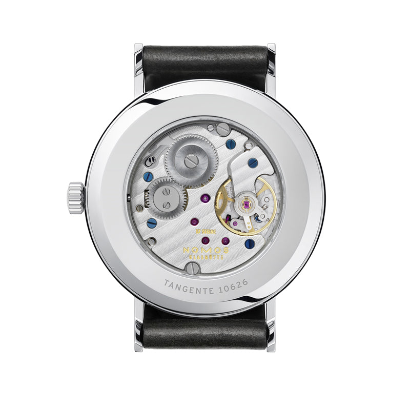 back of Nomos Tangente 38 Stainless Steel Watch Ref. 164 with Tagente 10626 on rim
