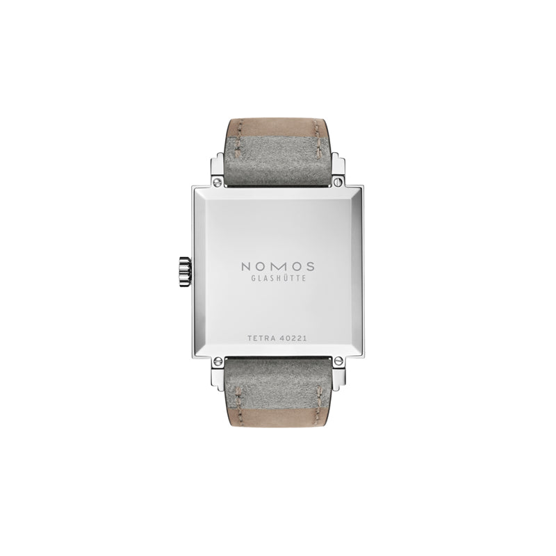 back of Nomos Tetra Matcha Stainless Steel Watch Ref. 495 with no window, Tetra 40221