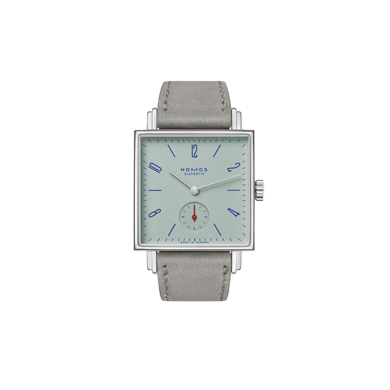Nomos Tetra Matcha Stainless Steel Watch Ref. 495 with square face, green tinted background