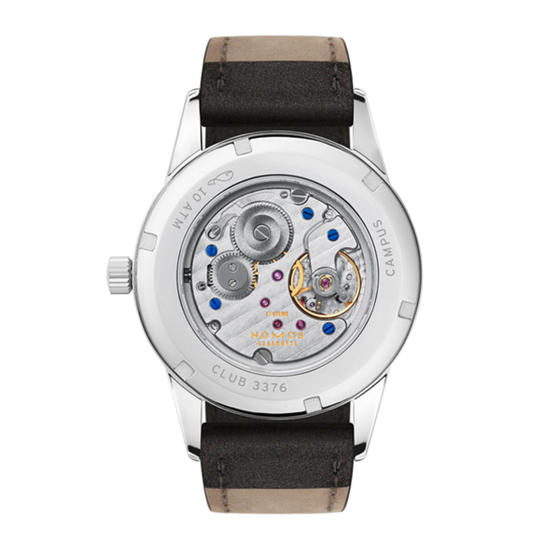 Back of Nomos Club Campus 38 Night Stainless Steel watch Ref. 738 with sapphire crystal display of watch movement