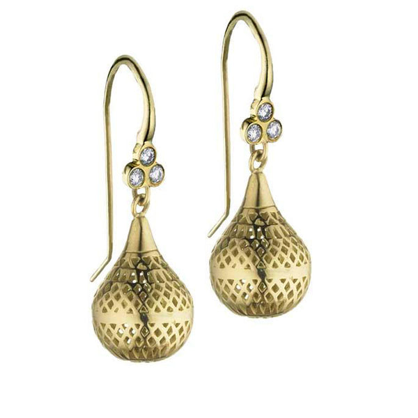 Ray Griffiths Diamond and 18K Gold Finial Drop Earrings
