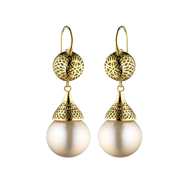 Ray Griffiths Pearl, 18K Gold and Oxidized Sterling Silver Drop Earrings
