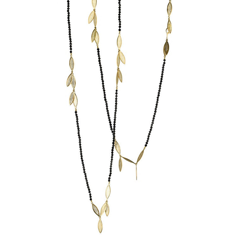 Ray Griffiths Black Tourmaline  and 18K Gold Fringe Triple Wrap Necklace