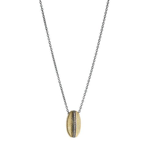 Ray Griffiths Diamond, 18K Gold and Sterling Silver Egg Pendant