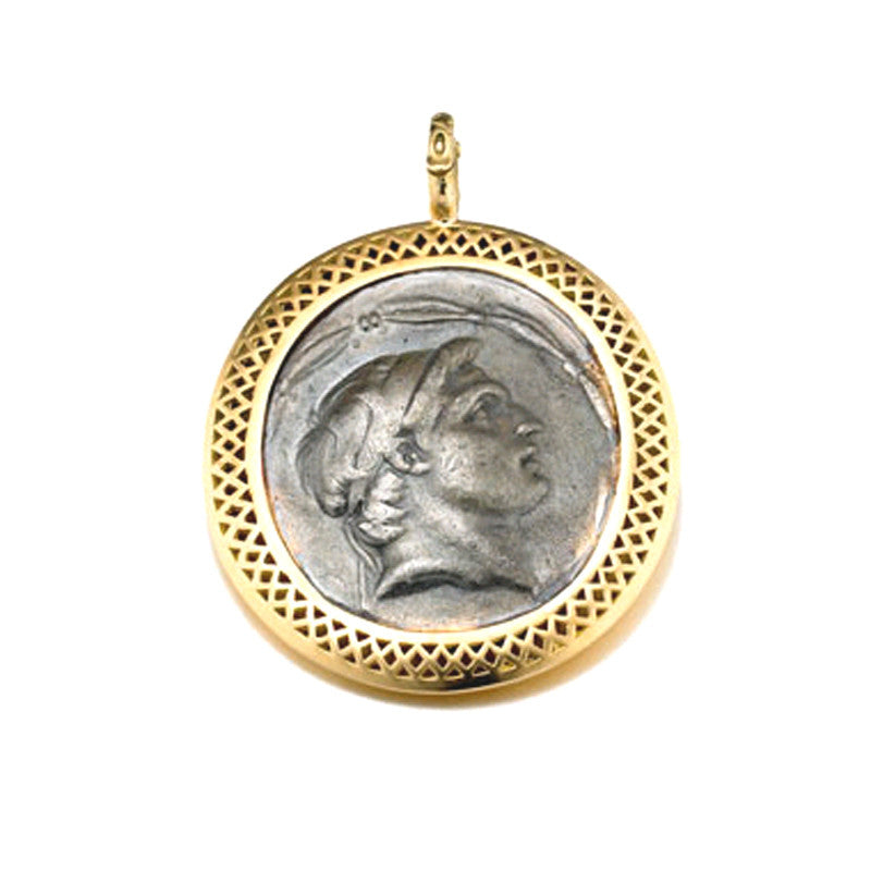 Ray Griffiths Silver Greek Coin and 18K Gold Pendant