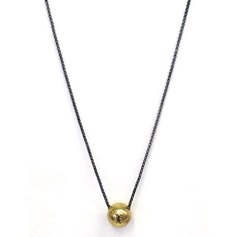 Ray Griffiths 18K Gold Crownwork Ball and Oxidized Sterling Silver Necklace