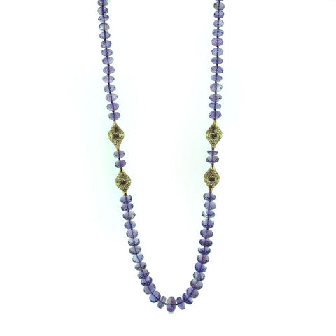 Ray Griffiths One of a Kind Amethyst 18K Gold and Oxidized Sterling Silver Necklace