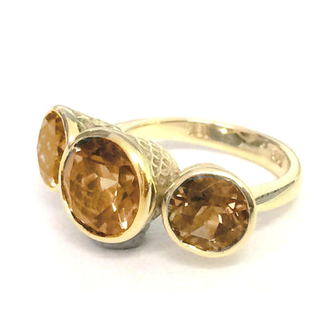 Ray Griffiths Citrine, and 18K Gold Three Stone Ring