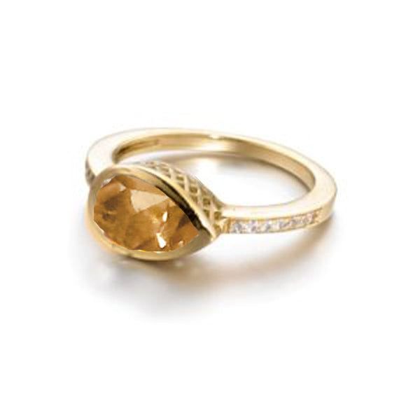 Ray Griffiths Citrine, Diamond and 18K Gold Ring