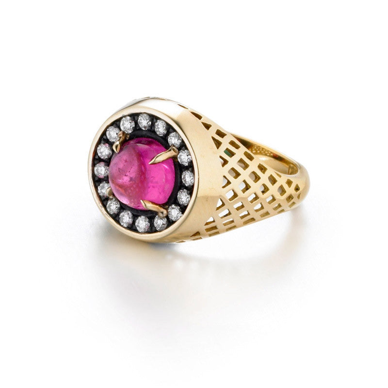 Ray Griffiths Pink Tourmaline, Diamond, Blackened Sterling Silver and 18K Gold Pinkie Ring