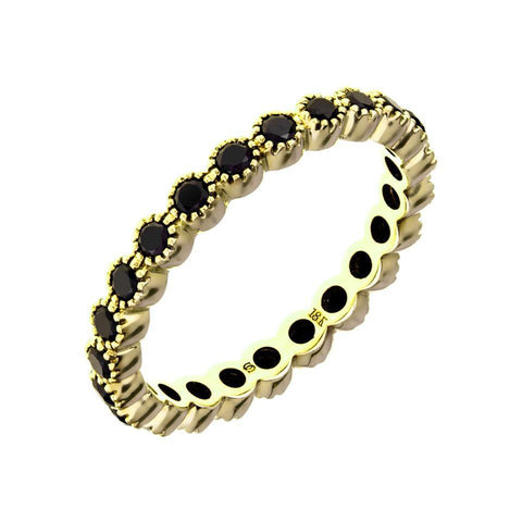 Sethi Couture 18K Yellow Gold Bezel Set Black Diamond Band