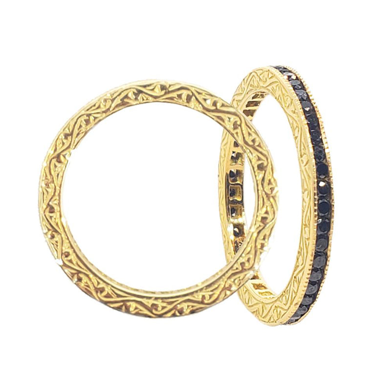 Sethi Couture 18K Gold Channel Set Black Diamond Eternity Band