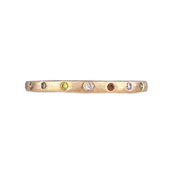Sethi Couture Scattered Multi Color Diamond and 18K Yellow Gold Band