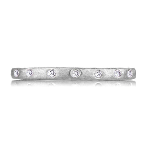 Sethi Couture 18K Brushed White Gold Diamond Band