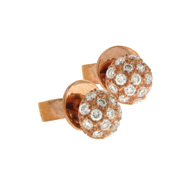 Sethi Couture Diamond and 18K Rose Gold Ball Stud Earrings