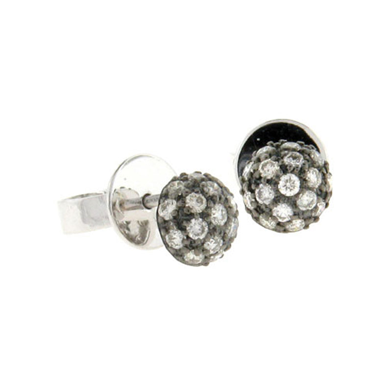 Sethi Couture Black Rhodium and Pave Diamond Ball Stud Earrings