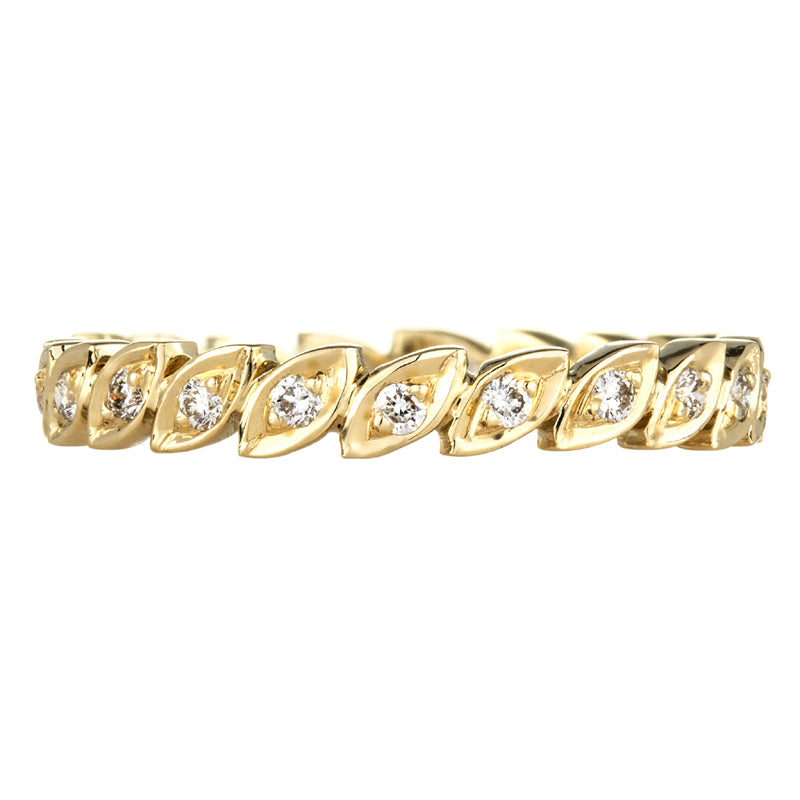18K yellow gold diamond eternity ring with leaf shapes