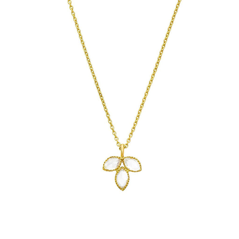 Sethi Couture Rose Cut Diamond Petal Pendant Necklace