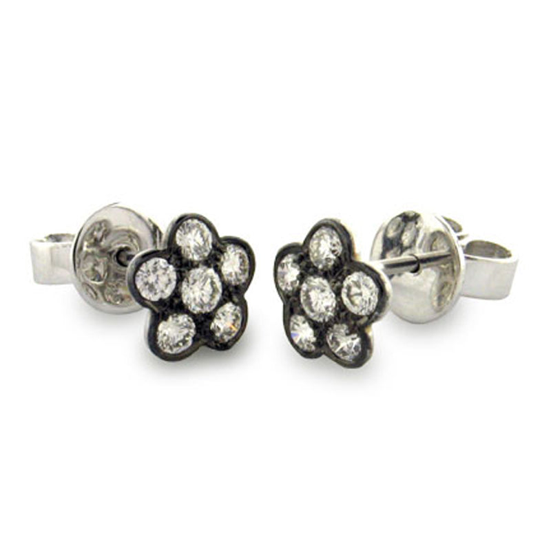 Sethi Couture daisy-shaped stud earrings with round cut diamonds and black rhodium