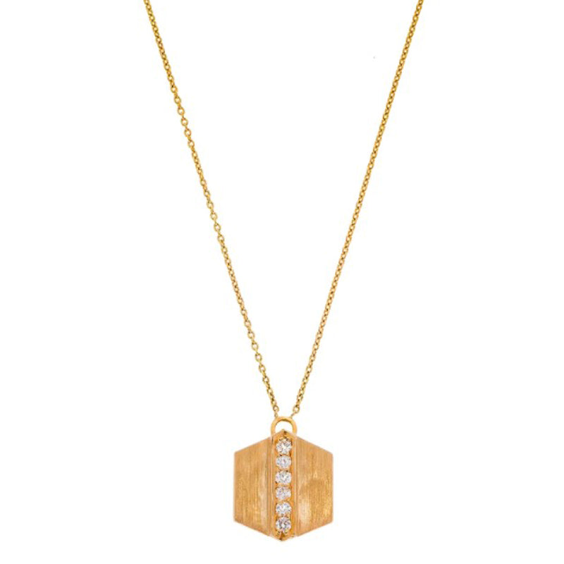 "18K brushed rose gold ""Maya"" pendant necklace with diamonds"