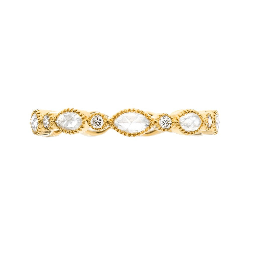 "18K yellow gold ""Amara"" eternity style band with round cut diamonds and marquise shape rose cut diamonds"