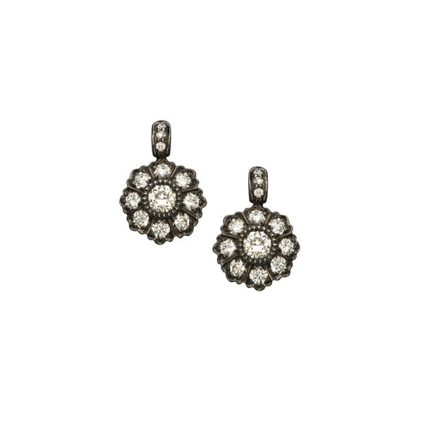 Sethi Couture Diamond and Oxidized Gold Drop Earrings