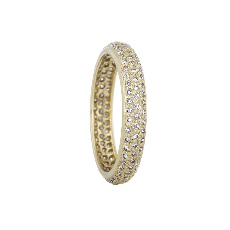 18K yellow gold tire shape eternity band with pave set diamonds