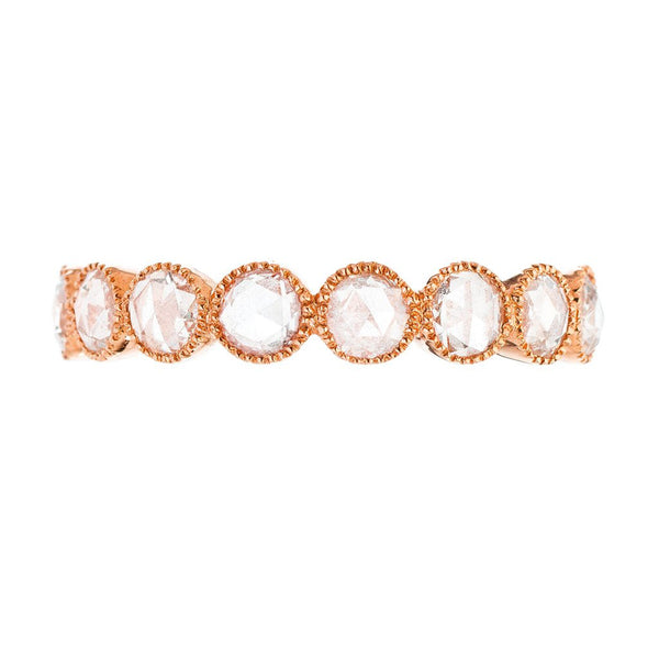 18K rose gold and rose cut diamond eternity band