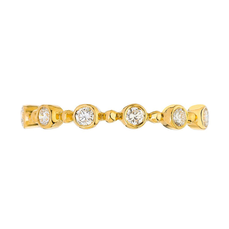 18K yellow gold bubble eternity band with beads and bezel set diamonds