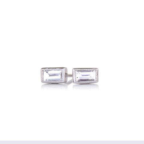 Sethi Baguette Diamond and 18K White Gold Stud Earrings