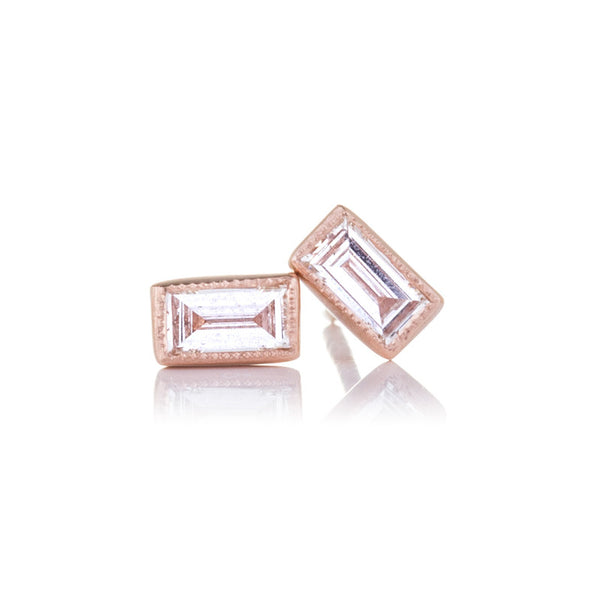 Sethi Baguette Diamond and 18K Rose Gold Stud Earrings