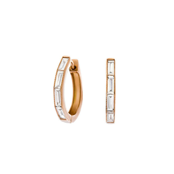 "18K rose gold ""Silhouette"" baguette diamond huggie hoop earrings"