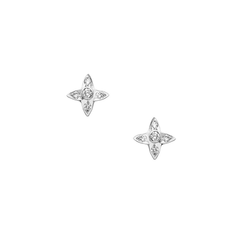 4 point star earrings with diamonds by Sethi Couture in white gold