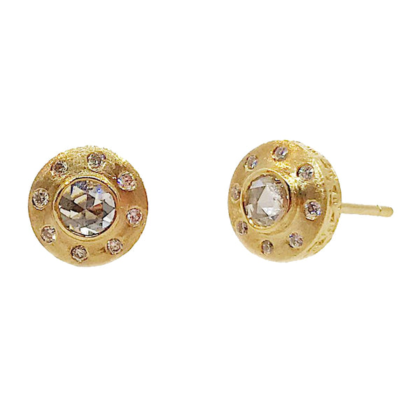 Sethi Couture Rose Cut Diamond Stud Earrings