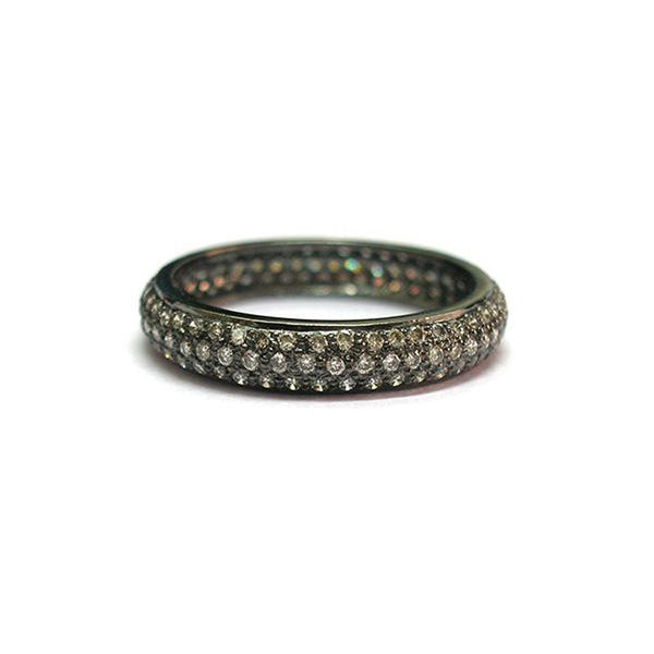 18K white gold with black rhodium tire band with pave set diamonds