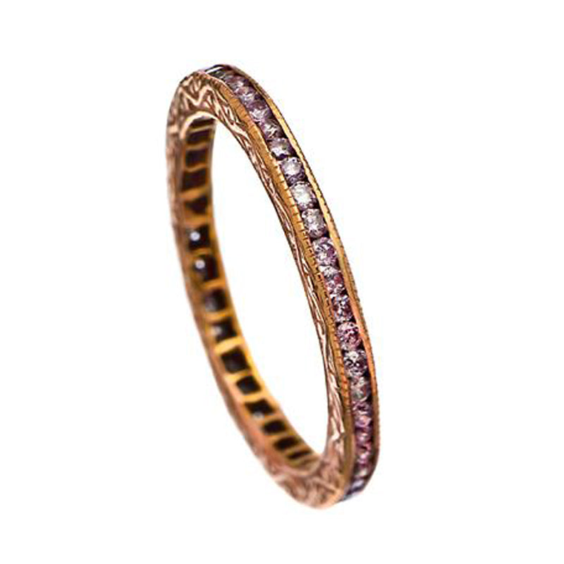 Sethi Couture 18K Rose Gold Channel Set Pink Diamond Eternity Band
