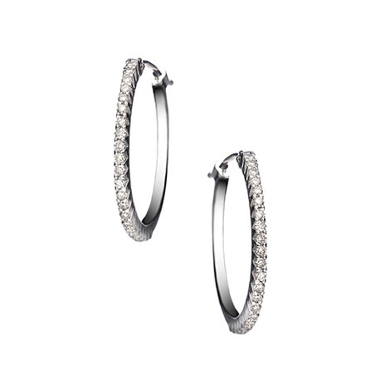 18k white gold hoop earrings with diamonds all along front of hoop, made by Sethi