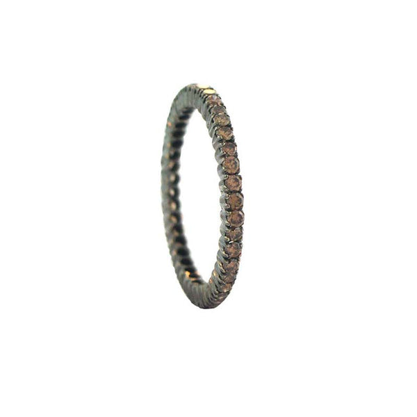 18K white gold with black rhodium finish eternity style band with prong set brown diamonds