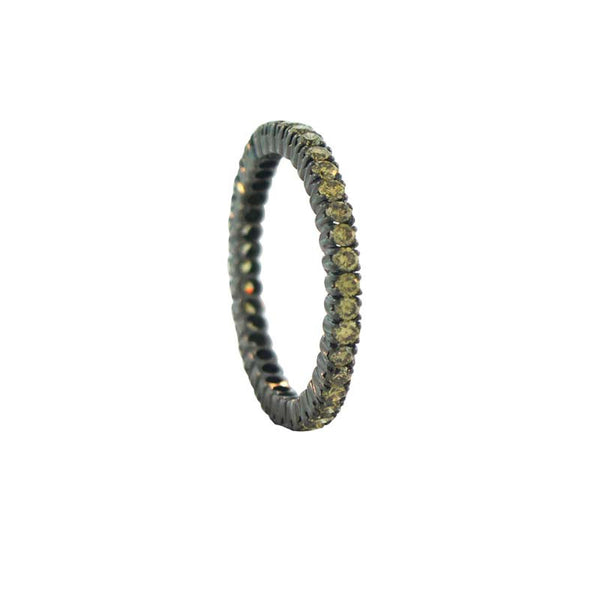 Sethi Couture Fancy Green Diamond and Black Rhodium Finished 18K White Gold Band