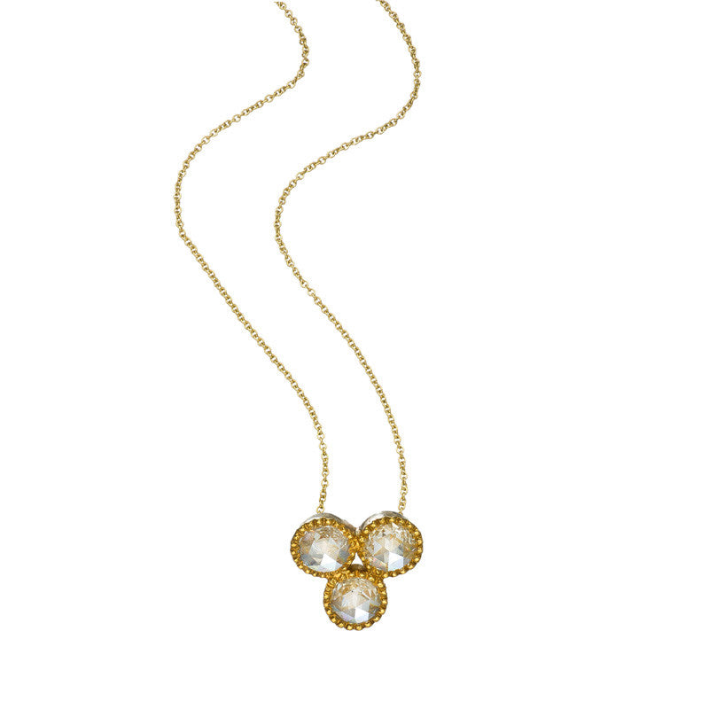Sethi Couture Grace necklace in yellow gold with three rose cut diamonds