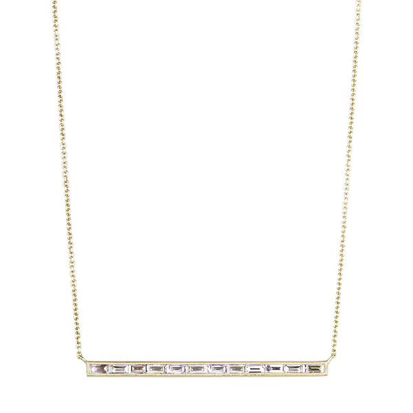 Sethi Couture 12 baguette diamond necklace with thin gold chain