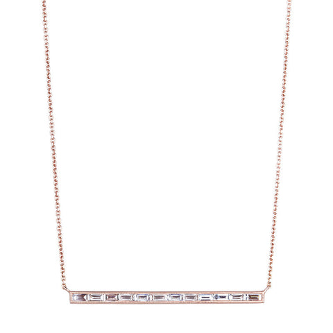 Sethi Diamond and 18K Rose Gold Bar Necklace