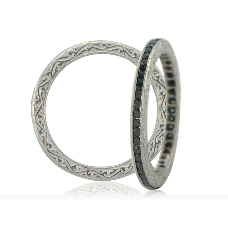 black diamond eternity band by sethi with intricate patterns