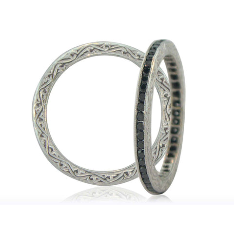 Sethi Couture 18K White Gold Channel Set Black Diamond Eternity Band