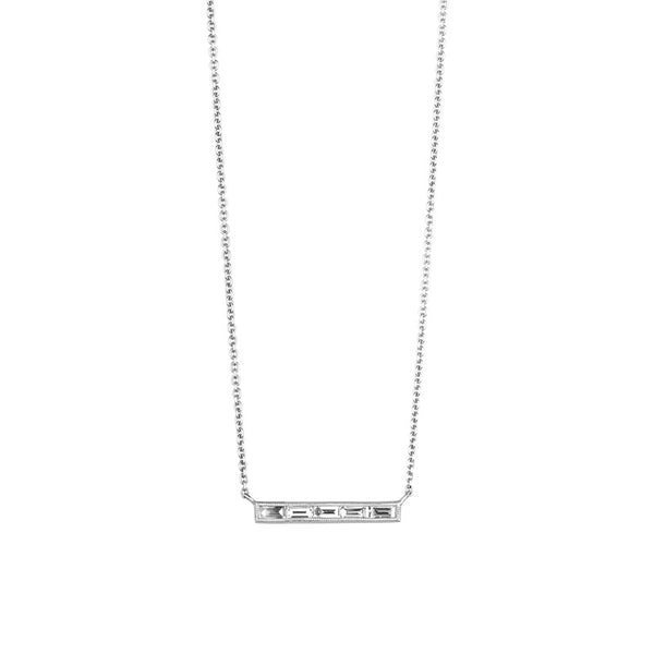 18K white gold five baguette diamond bar necklace on fine cable chain