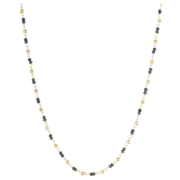 Sethi Couture Black Diamond and Gold Bead Station Necklace