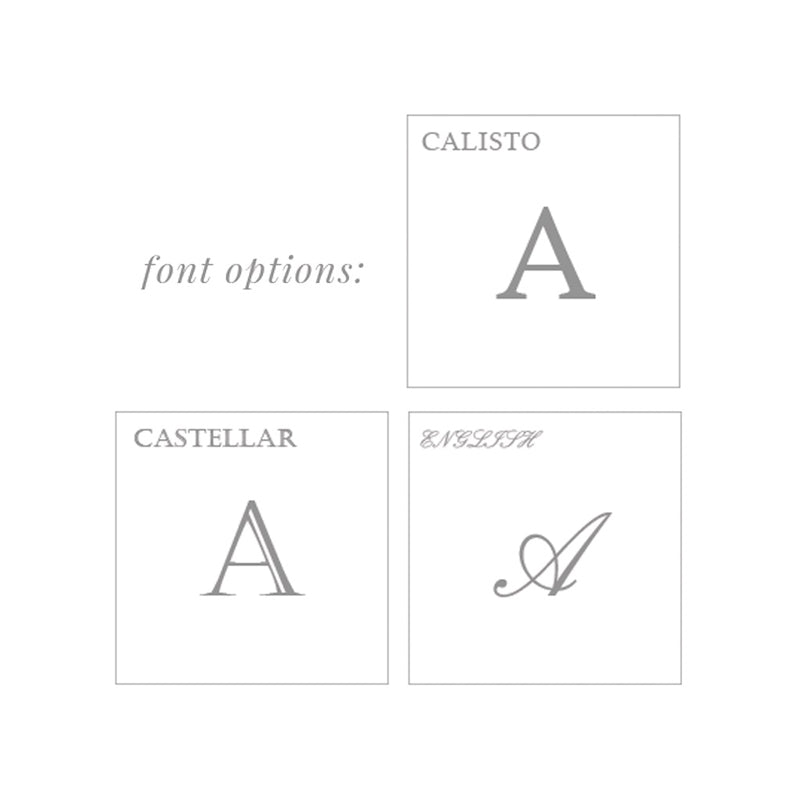 necklace engraving guide with Calisto, Castellar, and English fonts
